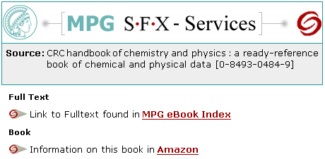 e-Books service in MPG/SFX